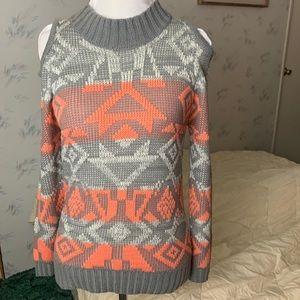 Tobi Gray Orange Tribal Cold Shoulder Sweater